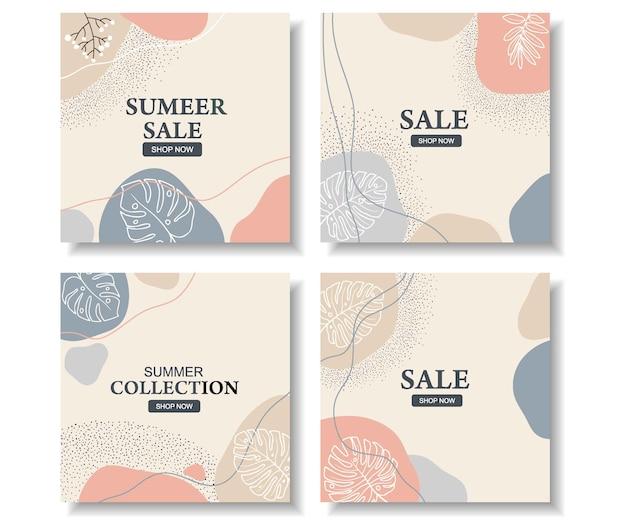 Banner de venda em tamanho quadrado para instagram, design floral abstrato