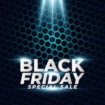 Banner de venda especial de black friday com fundo de hexágono no conceito de meio-tom