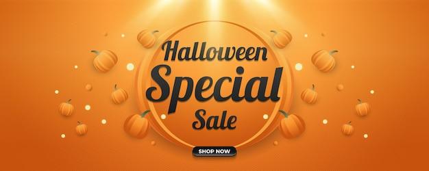 Banner de venda especial de halloween com abóboras espalhadas