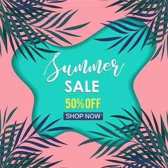 Banner de venda exótica verão com folhas de palmeira