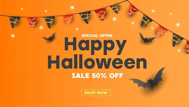 Banner de venda feliz dia das bruxas com abóboras, estrelas, doces listrados e morcegos