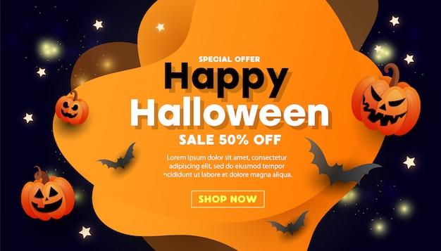 Banner de venda feliz dia das bruxas com morcegos