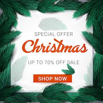Banner de venda feliz natal com moldura de ramos de abeto