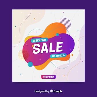 Banner de venda fim de semana colorido abstrato