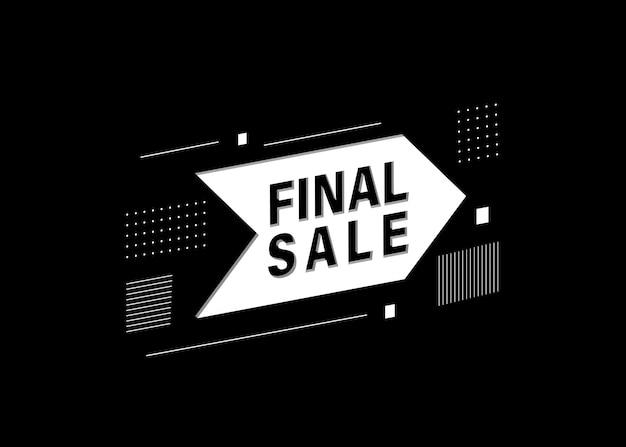 Banner de venda final abstrato branco sobre preto