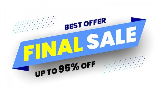 Banner de venda final de melhor oferta. fita azul.