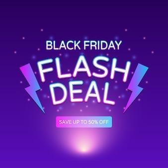 Banner de venda flash black friday com relâmpago e luz de néon