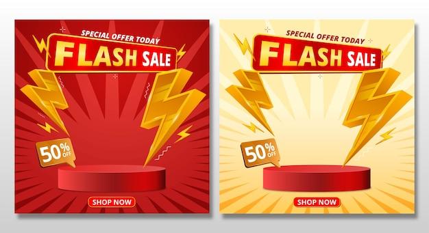 Banner de venda flash com design de modelo de pódio e ícone de parafuso