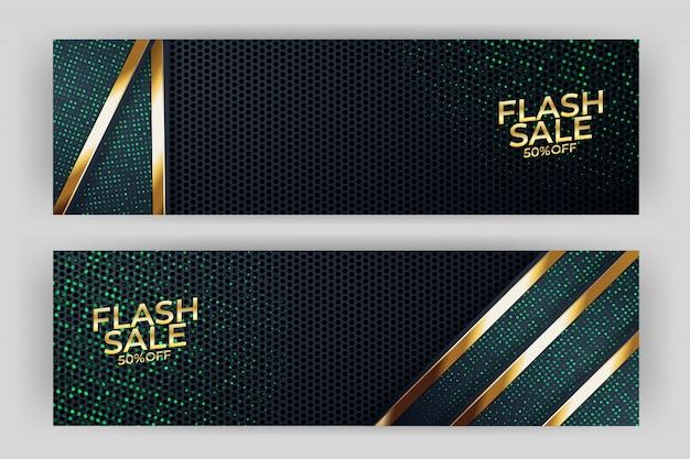 Banner de venda flash com prémio de estilo de fundo dourado