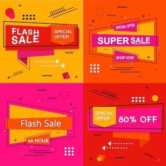 Banner de venda flash definir elementos premium vector pack