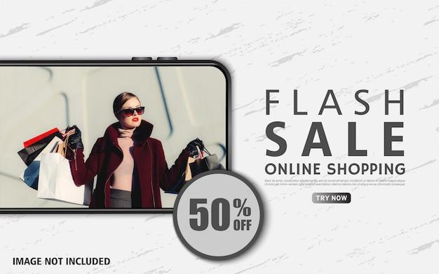 Banner de venda flash editável para web e mídias sociais com telefone realista
