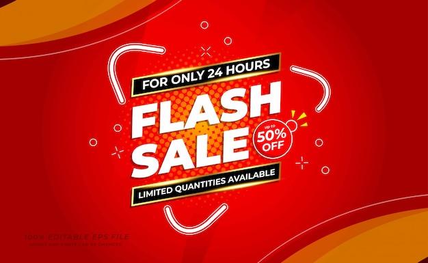 Banner de venda flash moderno com cor vermelha