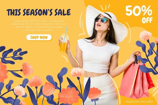 Banner de venda floral desenhado à mão com foto