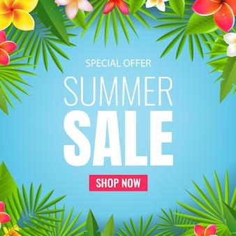 Banner de venda folhas e flores tropicais