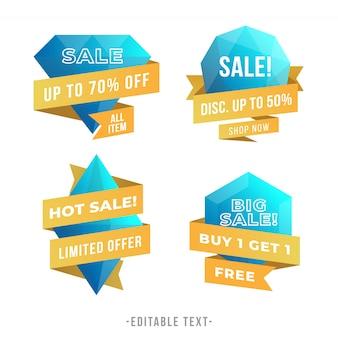 Banner de venda gradiente moderno e coleção de etiquetas