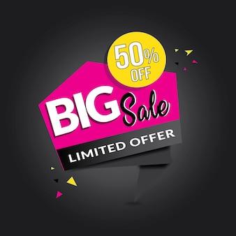 Banner de venda grande de forma personalizada rosa branca preta