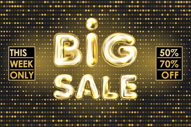 Banner de venda grande preto com letras de balão de folha de ouro