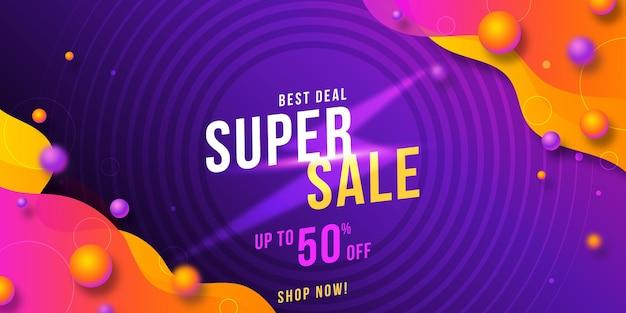 Banner de venda horizontal abstrato gradiente