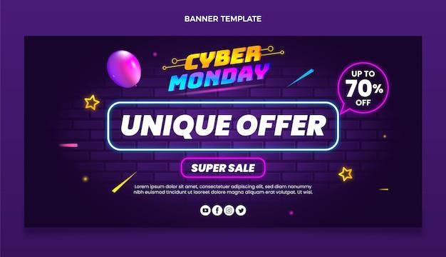 Banner de venda horizontal cibernética realista de segunda-feira