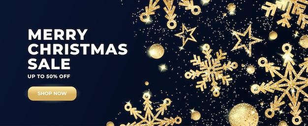 Banner de venda horizontal de natal e ano novo com flocos de neve dourados com efeito glitter