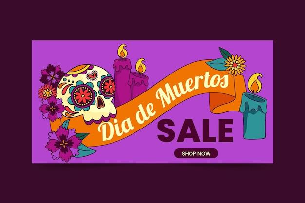 Banner de venda horizontal desenhado à mão com dia de muertos