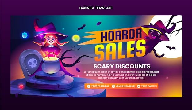 Banner de venda horizontal gradiente de halloween