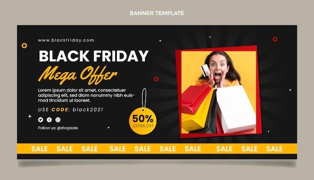 Banner de venda horizontal preto liso na sexta-feira
