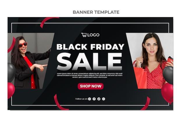 Banner de venda horizontal preto realista de sexta-feira