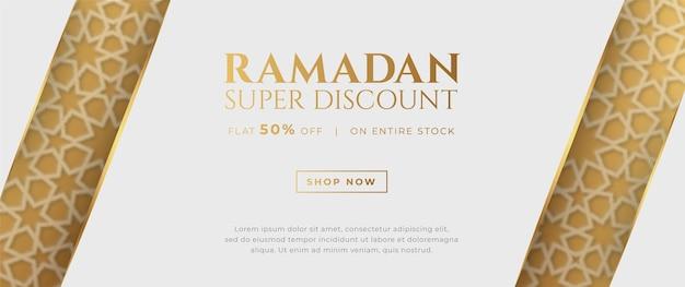 Banner de venda islâmico árabe luxuoso ramadan kareem eid mubarak
