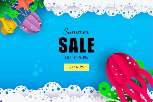 Banner de venda marinha de verão