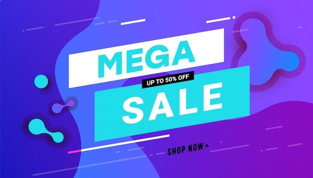 Banner de venda mega com gradiente líquido ondulado dinâmico abstrato