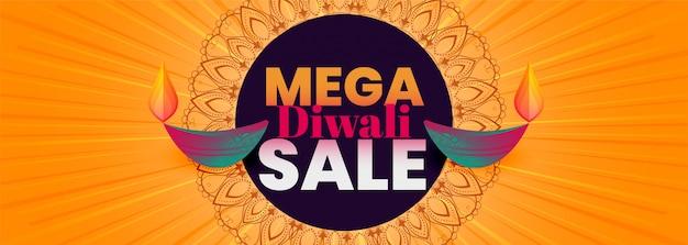 Banner de venda mega diwali com diya