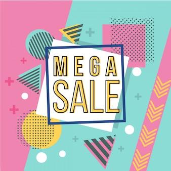 Banner de venda mega em estilo memphis