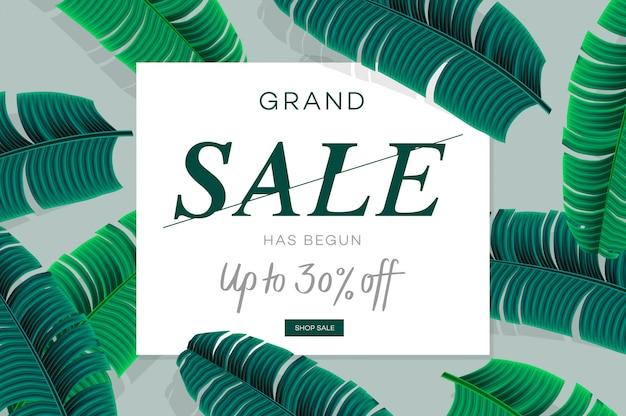 Banner de venda, modelo de web com folhas de palmeira, folha de selva. fundo floral verão tropical. ilustração.