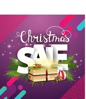 Banner de venda moderna de natal com livros de natal