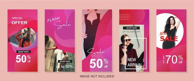 Banner de venda moderna vertical para a história da web ou do instagram