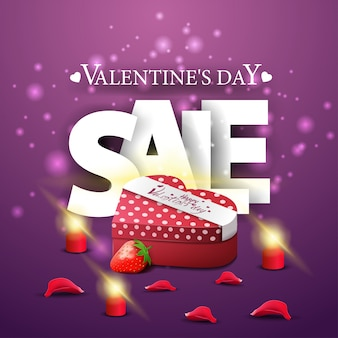 Banner de venda moderno roxo dia dos namorados com presente em forma de coração