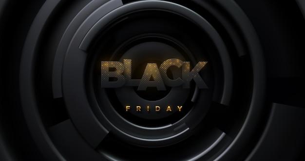 Banner de venda na sexta-feira negra com letras de papel com brilhos dourados e fundo de formas concêntricas