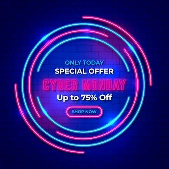 Banner de venda neon cyber segunda-feira