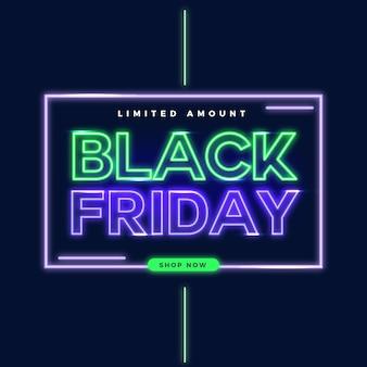 Banner de venda neon preto sexta-feira