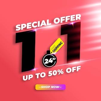 Banner de venda no dia de compras com 50% de desconto e frete grátis