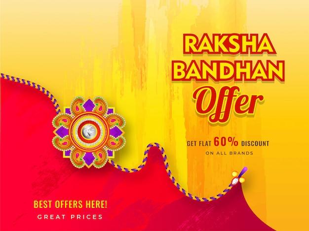 Banner de venda ou design de cartaz com oferta de 60% de desconto e rakhi bonito (pulseira) para celebração de raksha bandhan.