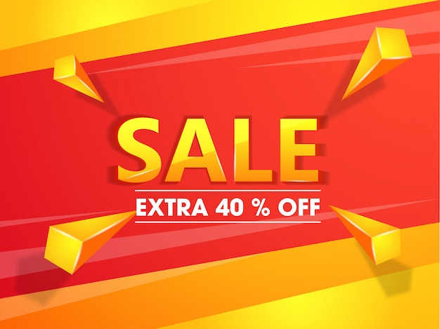Banner de venda ou design de cartaz com oferta de desconto extra de 40% e 3
