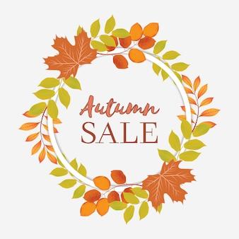 Banner de venda outono com coroa de círculo