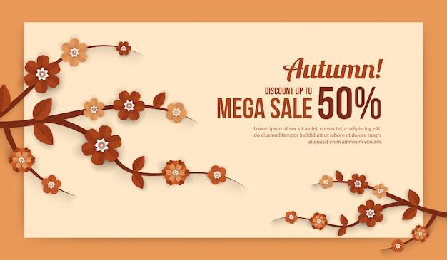 Banner de venda outono com elementos de flor em papel cortado estilo para venda comercial ou cartaz de promo