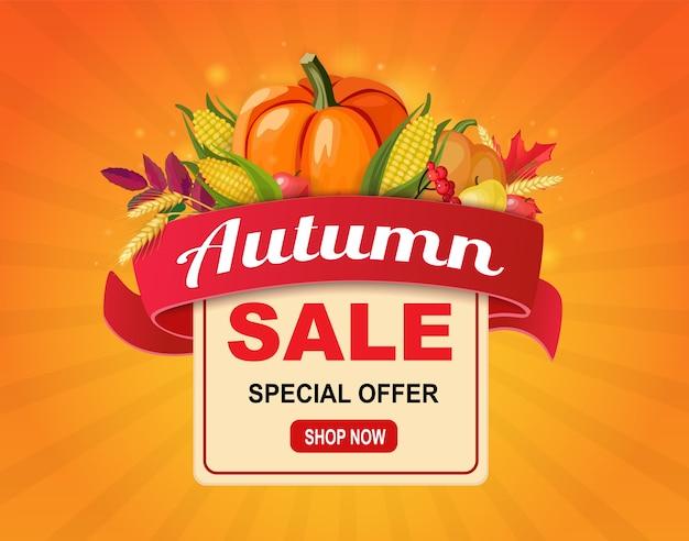 Banner de venda outono com fita e colheita de legumes.