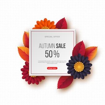 Banner de venda outono com folhas 3d, flores e padrão pontilhado. modelo para descontos sazonais
