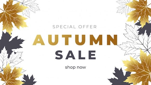 Banner de venda outono com folhas de outono de ouro e contorno
