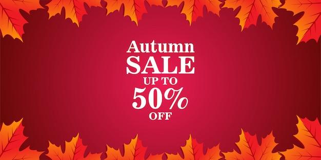 Banner de venda outono com folhas