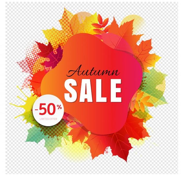 Banner de venda outono com mancha colorida e folhas em transparente